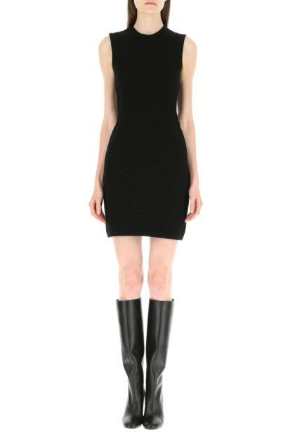 Black stretch wool blend dress