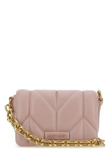 Powder pink nappa leather shoulder bag