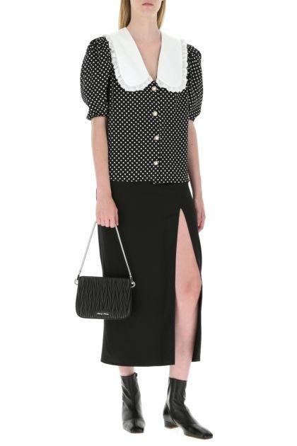 Black nappa leather Miu Sassy shoulder bag
