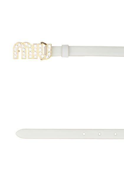 White leather belt