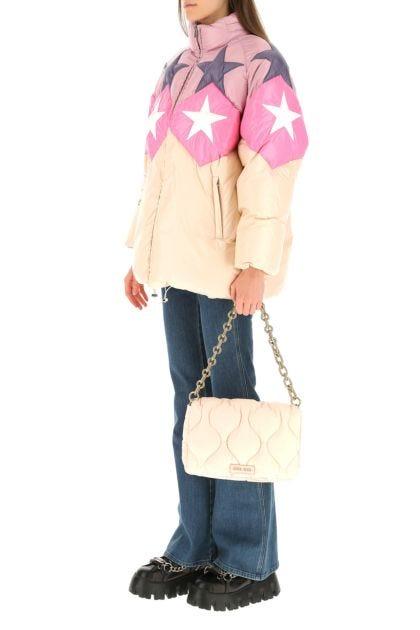 Pastel pink nylon shoulder bag