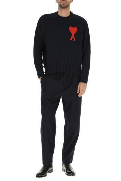 Navy blue cotton blend sweater