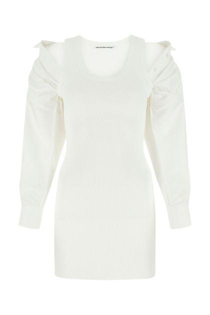 White stretch polyester blend dress