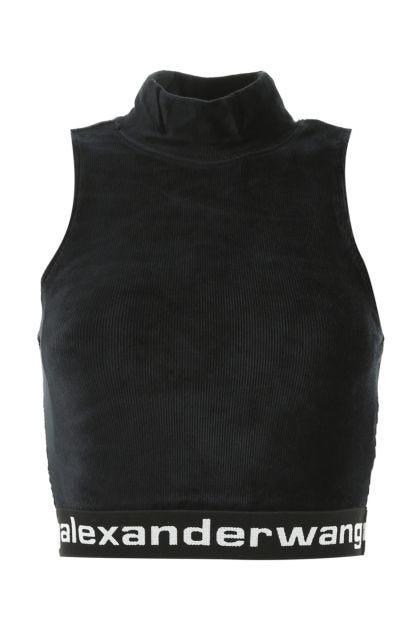 Black stretch chenille top