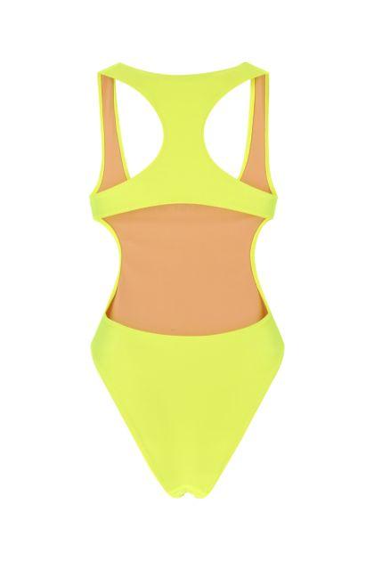 Fluo yellow stretch nylon swimsuit