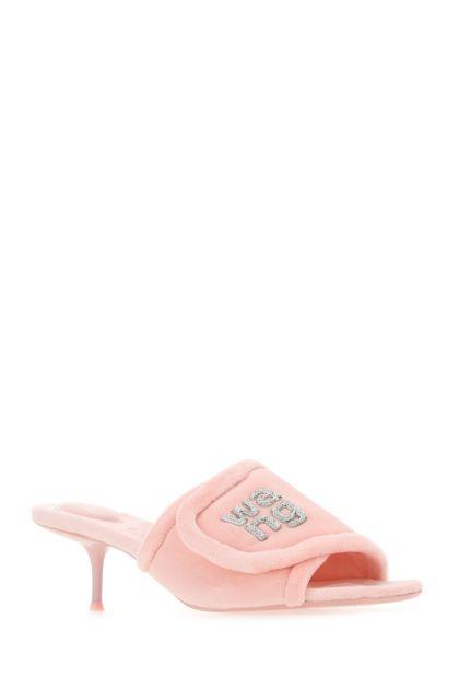 Pink chenille Jessie mules