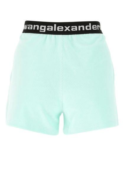 Sea green stretch chenille shorts
