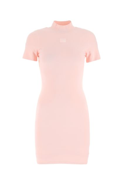 Pastel pink stretch viscose blend t-shirt dress