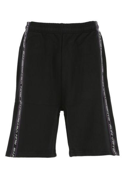 Black cotton blend bermuda shorts