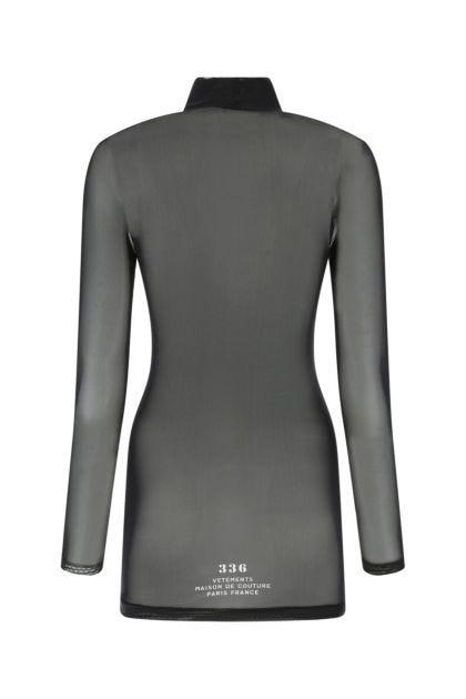 Black stretch mesh mini dress