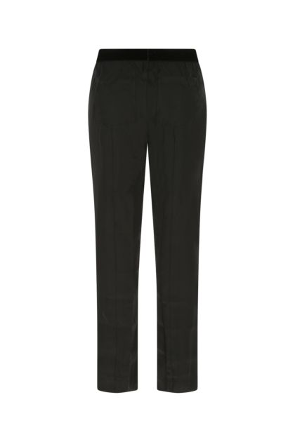 Black stretch silk pyjama pant