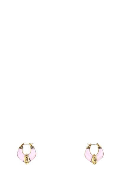Two-tone metal and plexiglass earrings