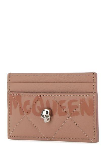 Powder pink leather card holder