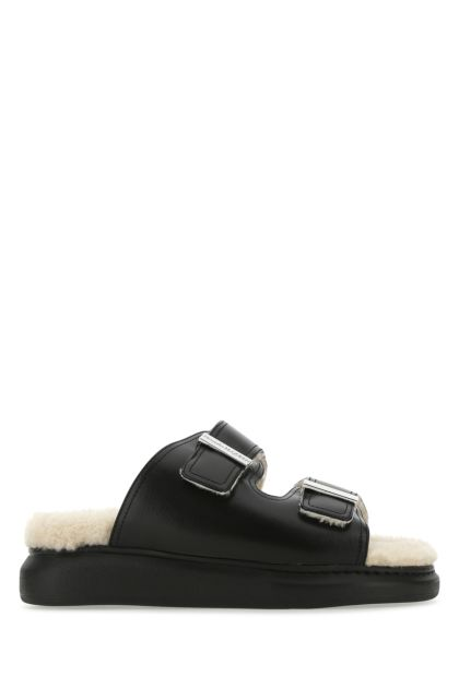 Black leather Hybrid slippers