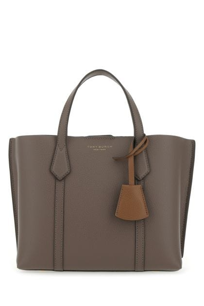 Dove grey leather Perry shopping bag