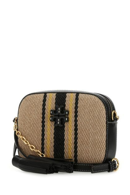 Two-tone leather and linen McGraw crossbody bag