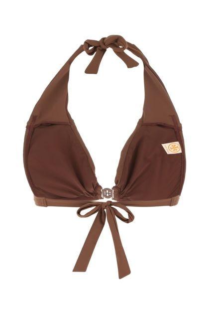 Brown stretch nylon bikini top