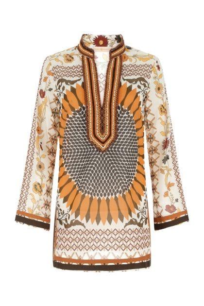 Printed cotton beach tunic