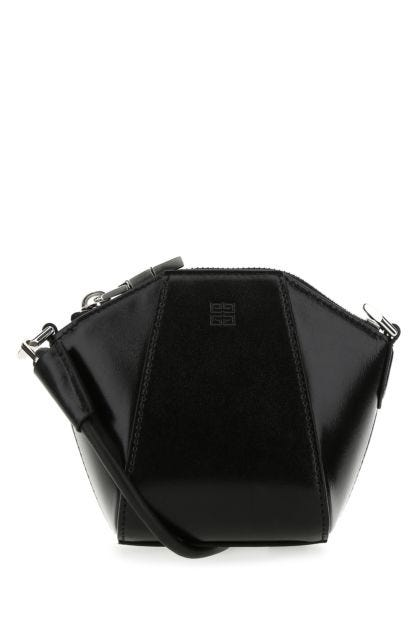 Black leather mini Antigona crossbody bag