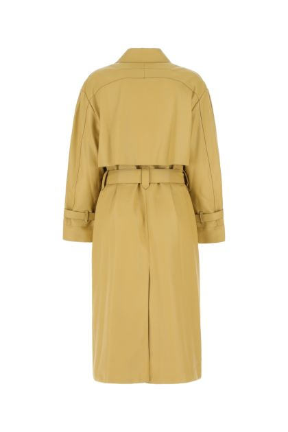 Beige synthetic leather trench coat