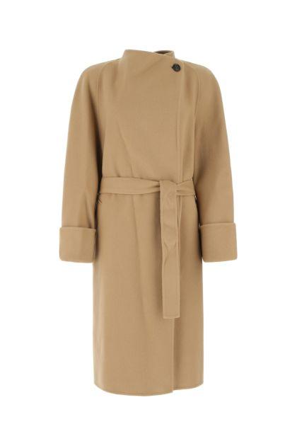 Biscuit wool blend coat