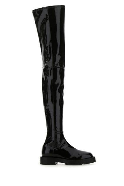 Black latex boots