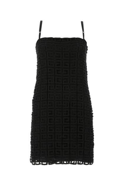 Black wool blend mini dress