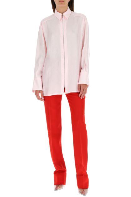 Pastel pink silk blend shirt