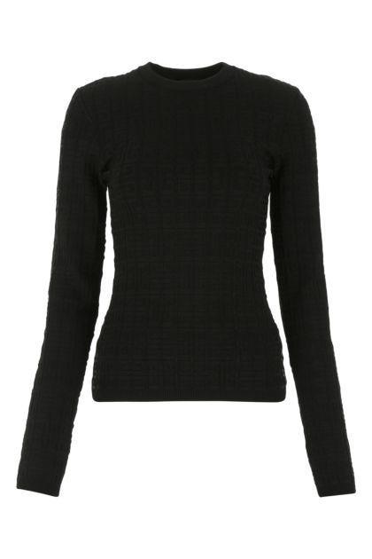 Black stretch viscose blend sweater
