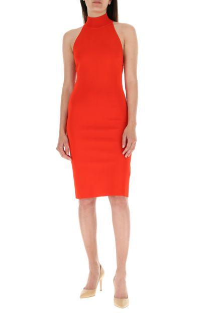 Red viscose blend dress