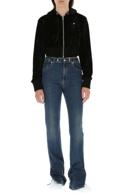 Black stretch chenille sweatshirt