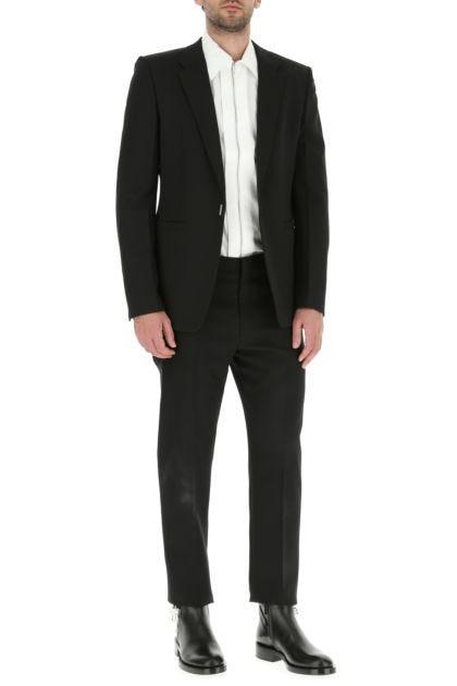 Black stretch wool blend blazer
