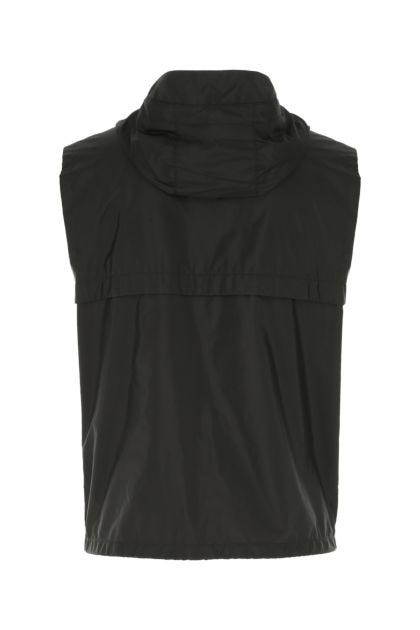 Black Re-Nylon sleeveless jacket