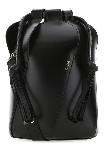 Black leather small Tulip bucket bag