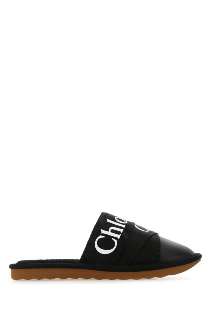 Black leather and canvas Woody slippers