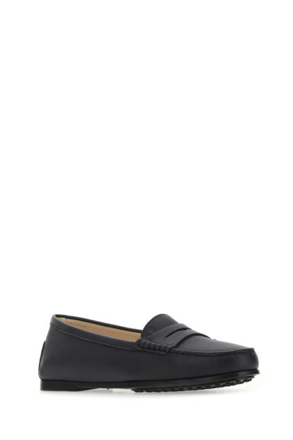 Dark blue leather City loafers