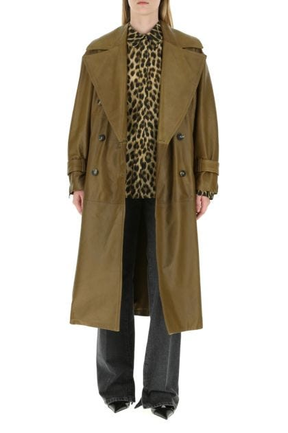 Khaki nappa leather Opaco trench coat