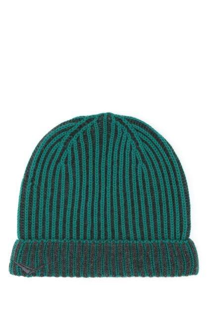 Green cashmere beanie hat