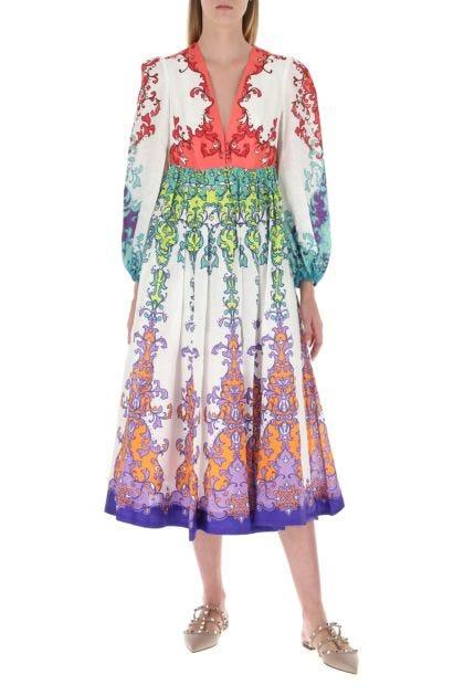 Printed linen Nina Plunge dress