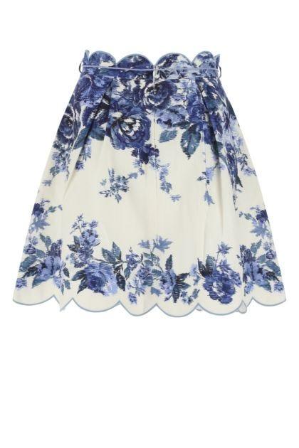 Printed linen Aliane skirt