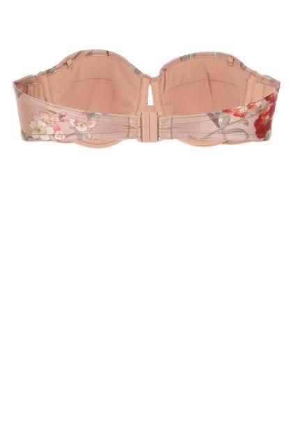 Printed stretch nylon Cassia bikini top