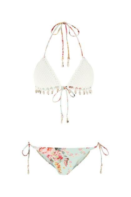 Printed cotton and stretch nylon bikini
