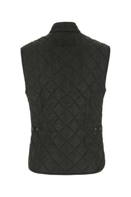 Black polyester sleeveless jacket