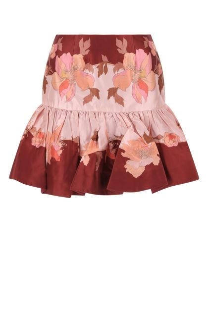Printed wool blend Concert mini skirt