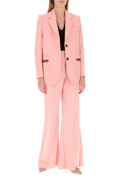 Pink stretch polyester blend pant