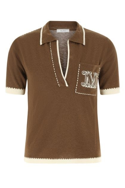 Brown silk blend Ricordo polo shirt