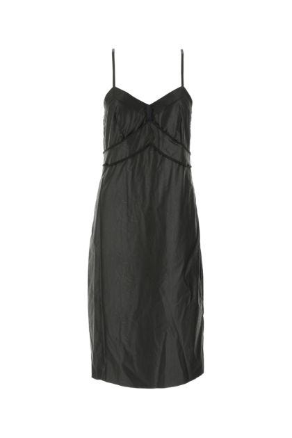Black synthetic leather dress