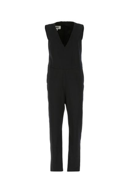 Black stretch polyester blend jumpsuit
