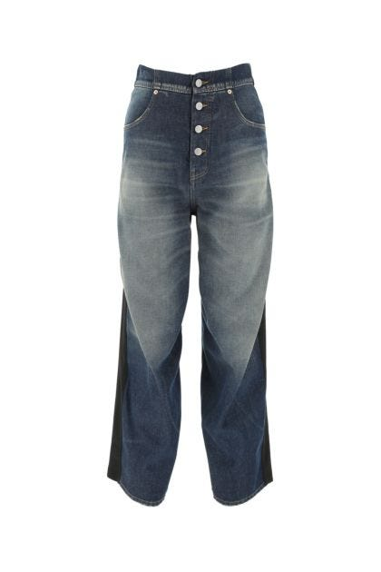 Two-tone denim and stretch polyester blend jeans