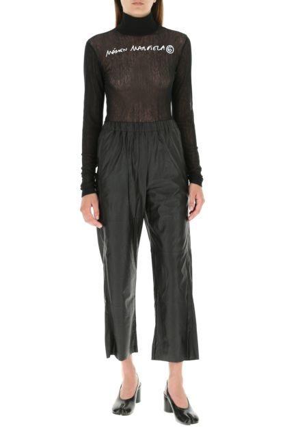Black stretch mesh top